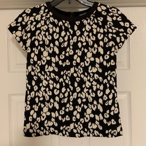 Banana Republic Tee Leopard Print Black White